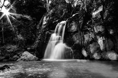 black and white landescape of waterfall Stock Photo