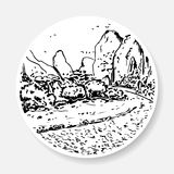 Black and white landscape in the form of a sketch Stock Image