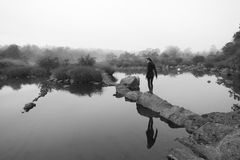 Black and White Landscape in India (minimalism) Royalty Free Stock Image