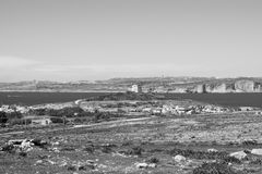 Black and White Landscape of Mellieha, Malta. A Black and White Landscape of the countryside in Mellieha, Malta with a view on Comino and Gozo Stock Photo