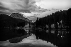 Black an white landscape. Black an white mountain with lake landscape Stock Image