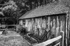 Black and white landscape of old blacksmiths workshop in Victori Stock Photo