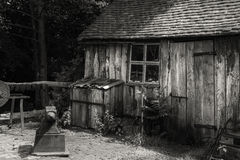 Black and white landscape of old blacksmiths workshop in Victori Stock Images