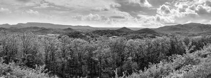 Black and white landscape panorama of Appalachian Mountains and rolling hills Stock Photos