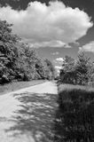 Black and white landscape with a road on sunny cloudy day Stock Photography