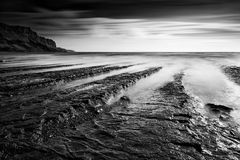 Black and white landscape of rocky shore Royalty Free Stock Image