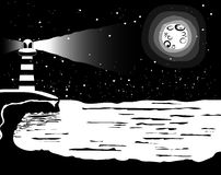 Black and white landscape at the sailor, sea and full moon Vecto Royalty Free Stock Photo