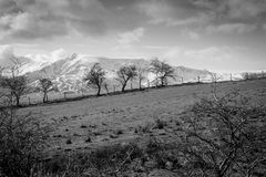 Black and white Landscape snowy mountains in The Lake district Stock Image