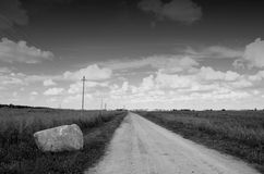 Black and white landscape with stone Royalty Free Stock Photo