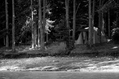 Black and white landscape with tent Royalty Free Stock Photo