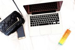 Black and White Laptop Computer royalty free stock photo