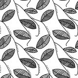Black and White Leafs seamless background Stock Image