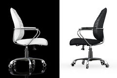 Black and White Leather Boss Office Chairs. 3d Rendering Stock Photo
