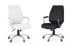 Black and White Leather Boss Office Chairs. 3d Rendering Stock Images