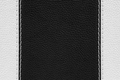 Black and white leather texture with stitches Stock Photo