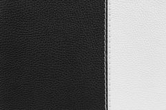 Black and white leather texture with stitches Royalty Free Stock Photos