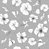Black and white leaves and red poppy on a gray background illustration. Seamless pattern. vector illustration