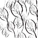 Black and white leaves seamless pattern Stock Image