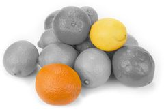 Black and white lemons and oranges friut with color one.  royalty free stock photos