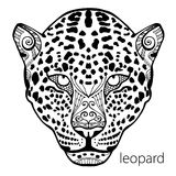 The black and white leopard print with ethnic patterns. Coloring book for adults antistress. Adult coloring Royalty Free Stock Photos
