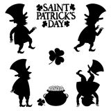 Black and white leprechaun figures Royalty Free Stock Photography