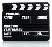 Black with white lettering clapper board isolated. On white Royalty Free Stock Image