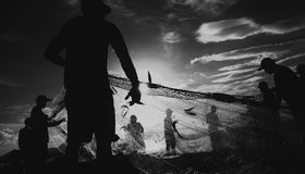Black and White Life Fishermen Stock Photography