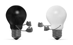 Black and white light bulbs fighting with fists  Stock Image