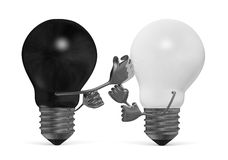 Black and white light bulbs fighting with fists  Royalty Free Stock Photo