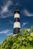 Black and white lighthouse isolated on a blue sky Royalty Free Stock Photography