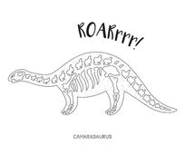 Black and white line art with dinosaur skeleton Royalty Free Stock Photos