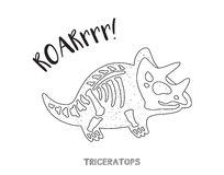 Black and white line art with dinosaur skeleton. Triceratops skeleton outline drawing. Fossil of a triceratops dinosaur skeleton. Coloring book page Royalty Free Stock Images