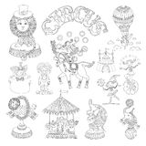 Black and white line art drawings collection of Royalty Free Stock Photography