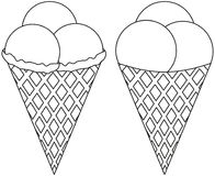 Black and white line art icon ice cream cone 3 ball set. Coloring book page for adults and kids. Summer fast food vector illustration for gift card, flyer Royalty Free Stock Photography