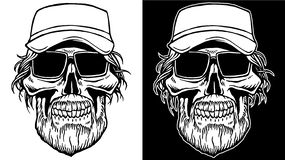 Black and White Line art of Skull with beard and sunglasses royalty free stock image