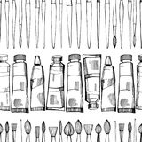 Artistic paintbrushes and paints. Vector seamless pattern Stock Images