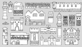 Black and white line drawing, cityscape architectural elements v Stock Images