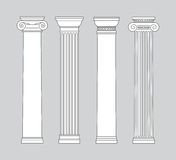 Black and white line drawing. columns Vector set Stock Images