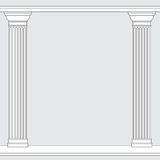 Black and white line drawing. Doric order columns frame Royalty Free Stock Photography