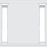 Black and white line drawing. Doric order columns frame Stock Images