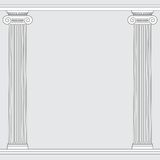 Black and white line drawing. Ionic order columns frame Stock Images