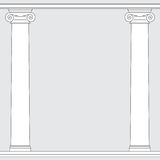 Black and white line drawing. Ionic order columns frame Stock Photos