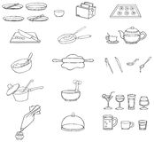 Black and white line drawing kitchenware icon set Stock Photos