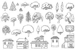 Black and white line drawing.Landscape hand drawn isolated eleme Stock Photo