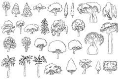 Black and white line drawing.Landscape hand drawn isolated elements  set.  Stock Photos