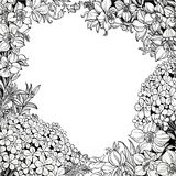 Black and white line drawing of magical wildflowers Stock Photography