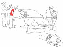 Road traffic collision - first aider, highlighted in red t-shirt, talks to driver and calls for. A black and white line drawing of a road traffic collision where Royalty Free Stock Photography