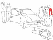 Road traffic collision - injured pedestrian and first aider helping onlookers, highlighted in red t-shirt. A black and white line drawing of a road traffic Stock Photos