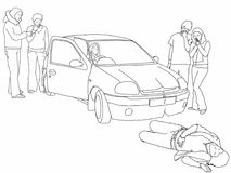 Road traffic collision - injuredpedestrian and onlookers. A black and white line drawing of a road traffic collision where a car has knocked down a pedestrian Royalty Free Stock Image