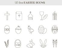 Black and white line Easter icons. Vector, illustration, clip art Stock Photo